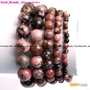 """Natural Multi-Color Rhodonite Stone Beads Healing Beaded Elastic Bracelet 7"""""""