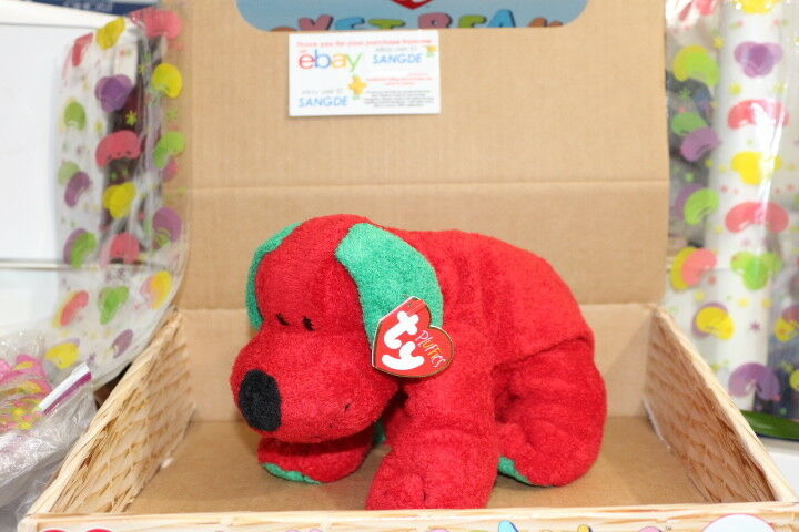 dcea6ae2e0b Ty Stuffed Plush Beanie Pluffies Christmas Red Green Puppy Dog Jingles 9in  2006 for sale online