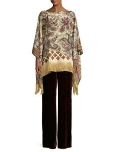 New Etro Milano Paisley Printed Silk Poncho Top With Fringe IS Uni Size $940