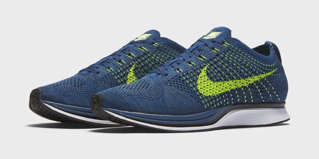 Nike Flyknit Racer BRAVE SQUADRON blueE VOLT GREEN SEAHAWKS 526628-407 4 M 5.5 W