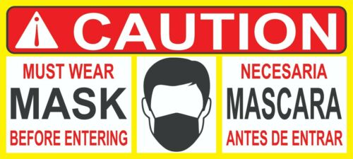 MUST WEAR MASK ENGLISH /& SPANISH 2 STICKERS 5X10 IN DOOR DECAL