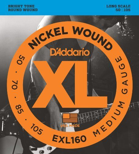 Long Scale Medium D/'Addario EXL160 Nickel Wound Bass Guitar Strings 50-105