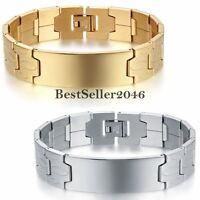 "16mm Wide Stainless Steel Link Bracelet Men's Boy's Cuff Bangle Wristband 8.1"""