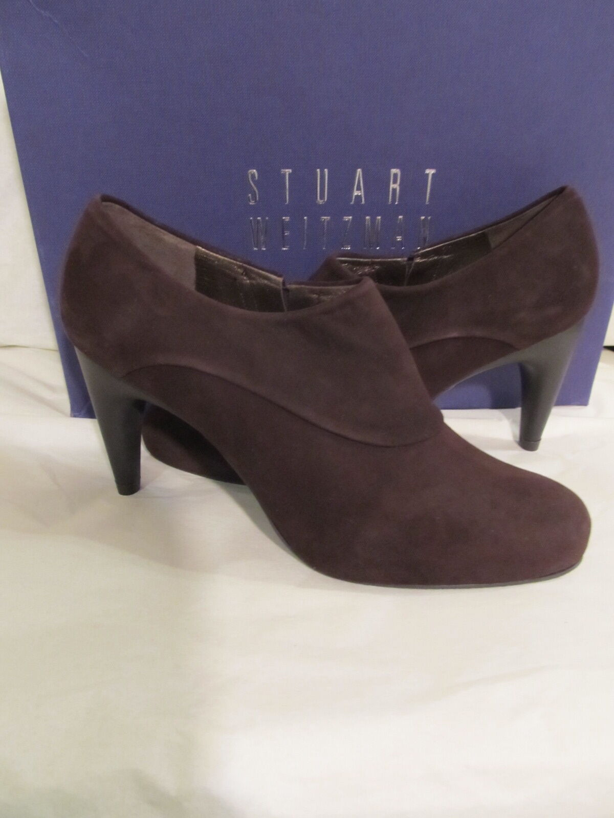 Stuart Weitzman para mujer Talla Talla Talla 7.5 elegante Cola Gamuza Marrón Botines Zapatos Tacón Alto 7461c2