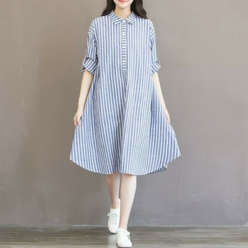 US Fashion Mother Maternity T-Shirt Dress A-line Pregnant Clothes Striped Dress