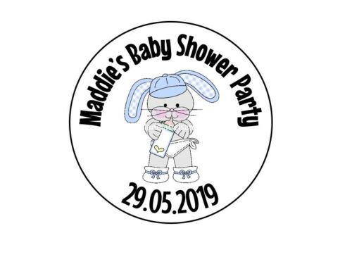 Baby Shower Stickers Personalised Round Name Large Labels Blue /& Pink Rabbits