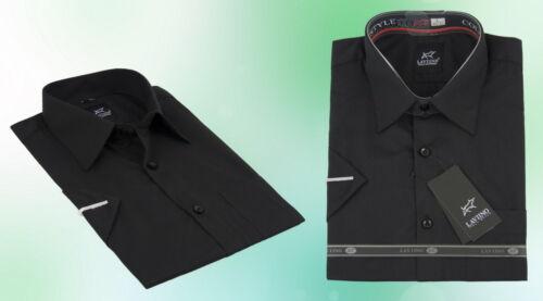 Uomo camicia classica Business Manica Corta Nero 38 39 40 41 42 43 44 45 46 47