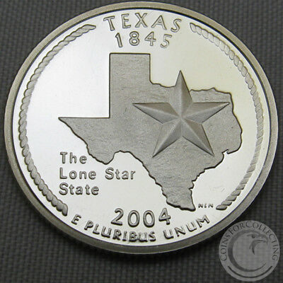 """US 90/% SILVER PROOF STATE QUARTER TEXAS TX  /""""S/"""" USA 2004 COIN UNC"""