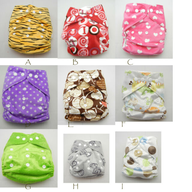One-size Infant Baby Cloth Diaper Soft minky Re-usable Nappy+one white insert