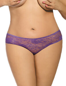 Ruffled-lace-and-fine-mesh-Crotchless-underwear-Plus-size-14-to-24-Purple