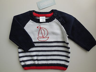 GYMBOREE BABY BOY SAILBOAT KNITTED JUMPER SWEATER SIZE 000 FITS 0-3M *NEW