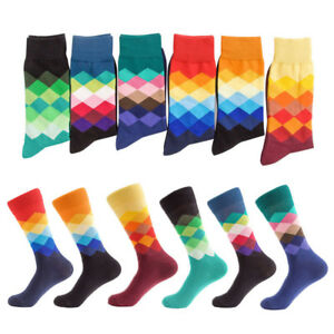 Men-Boys-Sports-Socks-Long-Colored-Diamonds-In-High-heeled-Men-039-s-Socks-Chrismas