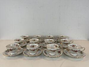 Vtg-Johann-Haviland-Bavaria-Porcelain-Moss-Rose-Set-of-12-Cups-amp-Saucers
