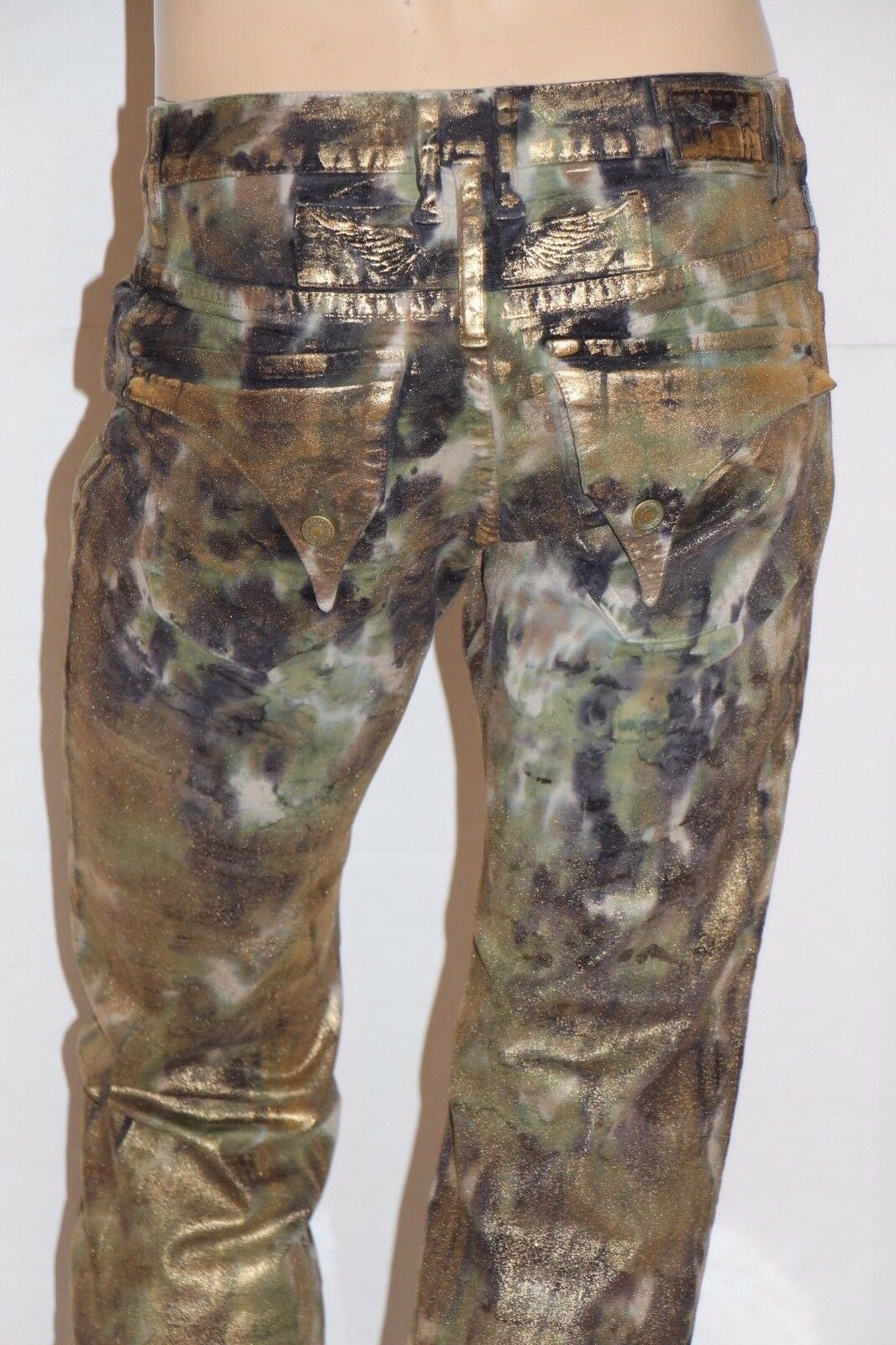 New Men's ROBIN'S JEAN  SP5696 LONG FLAP Straight Camo Pants Jeans_gold Foil