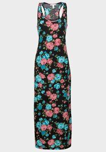 APPAREL-BLACK-PINK-BLUE-MULTI-FLORAL-MAXI-DRESS-REGULAR-PETITE-SIZE-12-14