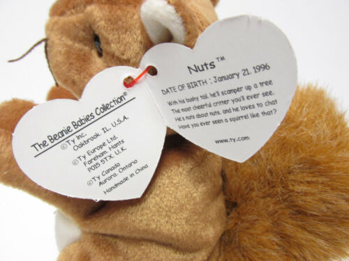 """Brand New *PRISTINE* MINT Ty Beanie Baby  /""""Nuts/"""" ADORABLE Squirrel Mint Tags"""