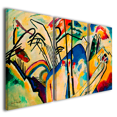 Quadri Wassily kandinsky vol XXIV trittico stampa su tela telaio spesso 3 cm