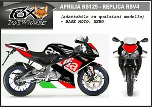 ADESIVI-stickers-moto-KIT-per-APRILIA-RS-125-2006-replica-RSV4-v2-base-nero