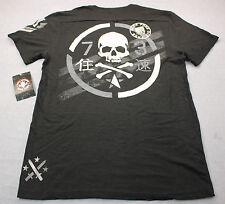 AFFLICTION Mens Black Born Free Die Free Standard Dry Goods Henley Shirt NWT 2XL
