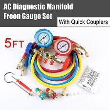 Hvac R134a R12 R502 R22 Diagnostic Manifoldgauge Set Acme Adapteramp5ft Hoses
