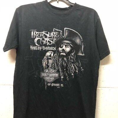 Harley-Davidson motorcycle men Bikers T-shirt Black treasure Cotton