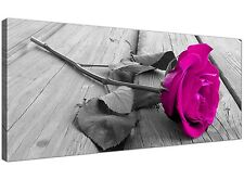 Pink Large Canvas Wall Art of Pink Rose Flowers  - 120cm x 50cm - 1036