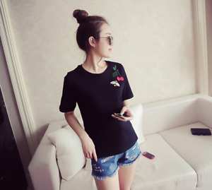 Women-Summer-Round-Neck-Cherry-Embroidery-T-Shirt-Short-Sleeve-Casual-Loose-Tops