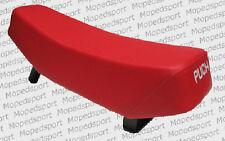 Sitzbank lang Kunstleder Rot Puch Maxi Schriftzug in Weiß 30mm Sattelstange