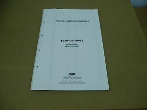 1992 Ford Tempo Mercury Topaz Wiring Diagram Sheet Service Shop Manual Ebay