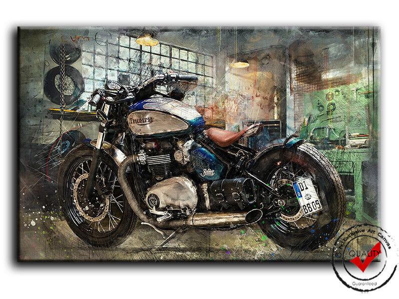 Triumph Bonneville Bobber Motorrad Bild Leinwand Garage Wandbild Poster Deko Art