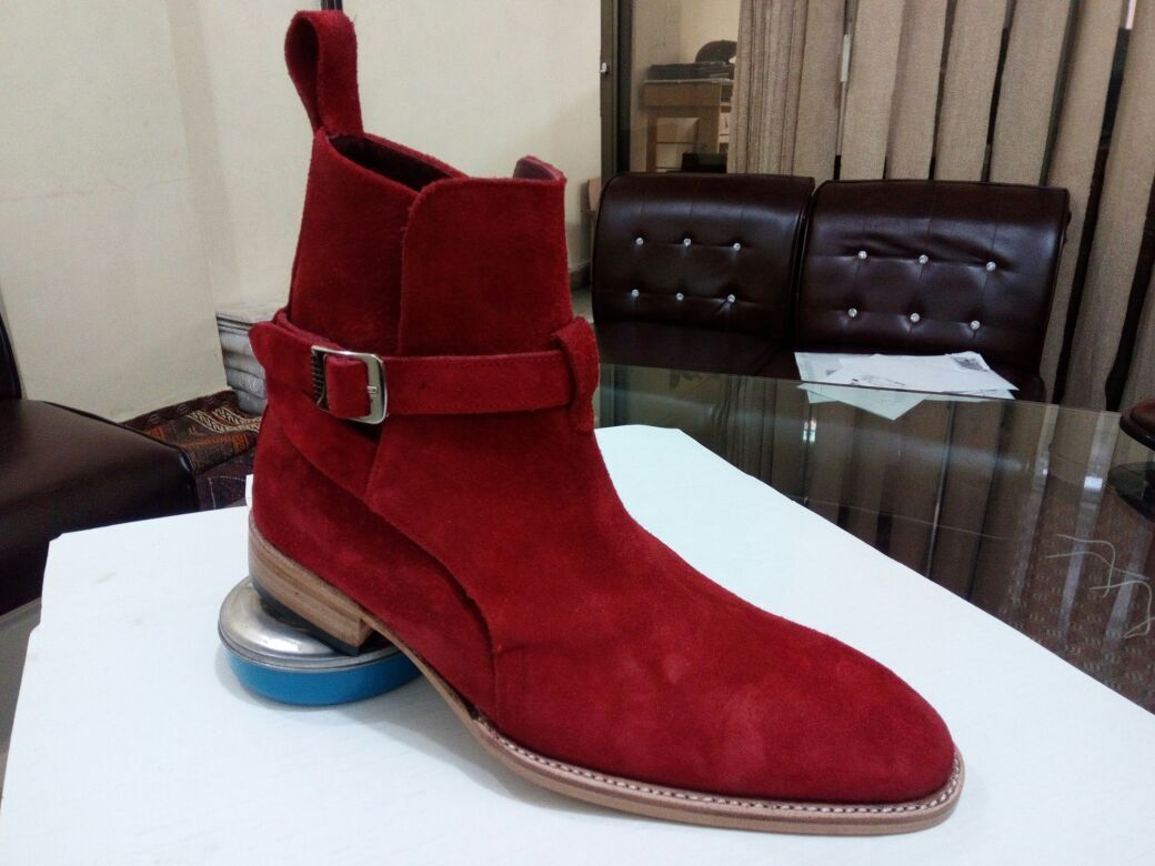 Handmade Mens Red color Jodhpurs boot, Men Red ankle suede leather sole boot