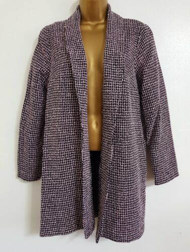 NEW Size 16 18 20 Pink Black Longline Textured Blazer Jacket Smart