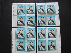 Canada mint nh set of 4 plate blocks 1228 canadian personalities,Angus walter