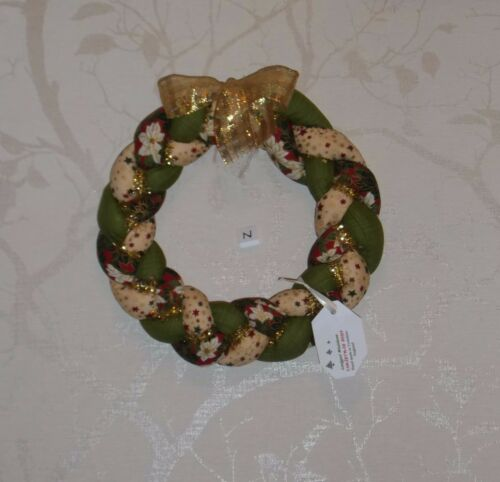 HAND-MADE PLAITED COTTON FABRIC CHRISTMAS WREATH DECORATION FULL SIZE