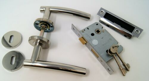 Arched Modern Door Handle Pack 3 lever Lock Set Polished Stainless Steel