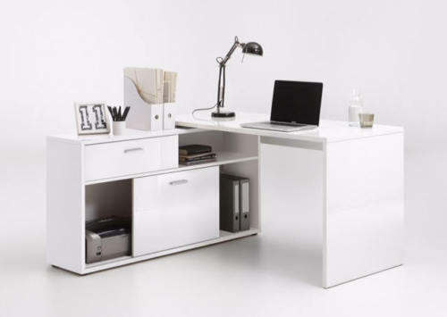 white high gloss computer office corner desk l shaped executive rh ebay co uk grey high gloss computer table high end computer table