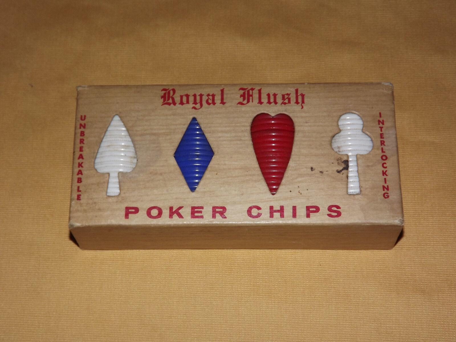 Vintage Usa Juguete Juego Royal Flush interbloqueo Fichas De Poker En Caja