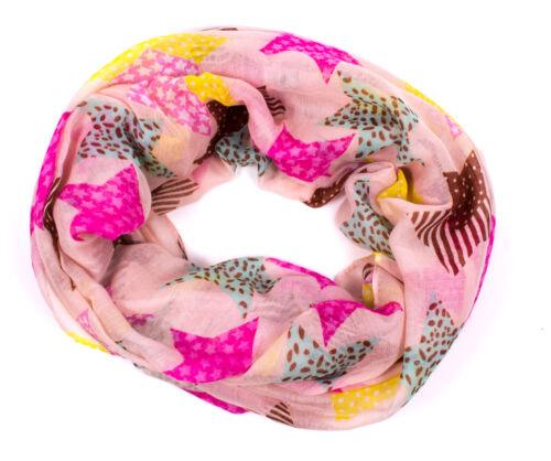 Damen Loop Schal Schlauchschal Tube Tuch mit Print Sterne Stars