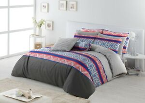 King-Size-Cotton-Reversible-Duvet-Doona-Quilt-Cover-With-Pillowcases-Set