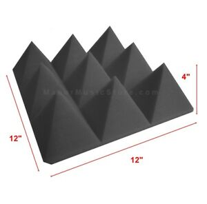 Acoustic-Foam-48-pack-XTRA-THICK-Charcoal-Gray-Pyramid-Soundproof-tiles-12x12x4-034