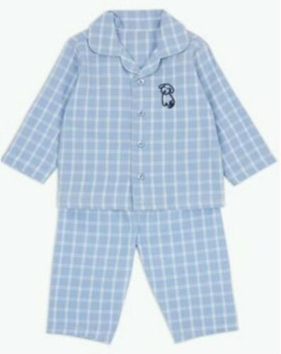 New Baby Ex Chainstore Boys Blue Checked Cotton Winceyette Flannel Pyjamas Pjs