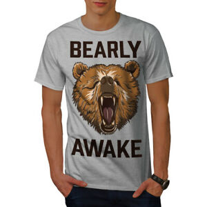 Wellcoda-Bearly-Grizzly-Awake-Mens-T-shirt-Coffee-Graphic-Design-Printed-Tee