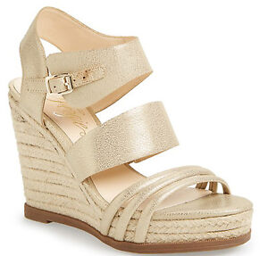 ab969964a6a9 Image is loading New-Fergie-039-Annabelle-039-Espadrille-Wedge-platinum-