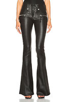 Genuine Leather Lace Front Flare Leather Pants Mid Rise Rock Star Women Sale
