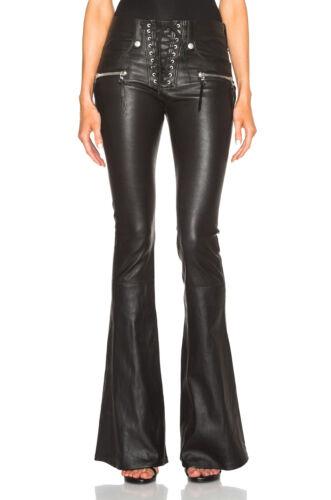 NUOVO Originale in Pelle in Pizzo Frontale Flare Pantaloni Di Pelle Mid Rise Rock Star Donna vendita