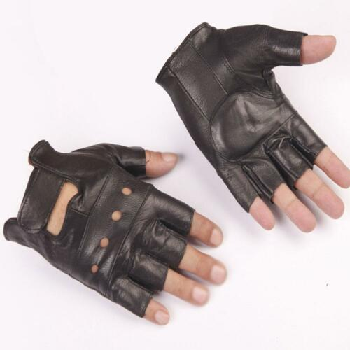 STYLISH MENS LEATHER FINGERLESS DRIVING MOTORCYCLE RACING BIKER GLOVES SUPPLY
