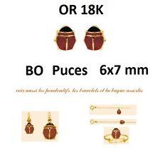 Dolly-Bijoux Boucles d oreilles Puces Or Massif 18K Coccinelle 6x7 mm