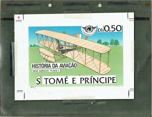 1979-St-THOMAS-PRINCE-ISLANDS-AVIATION-ACRYLIC-ARTWORK-WRIGHT-FLYER1-528-UNIQUE