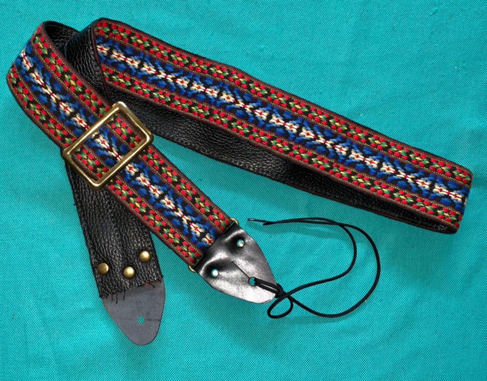 Vtg Matador Blau Bohemian ACE Style Woven Guitar Strap Made in USA