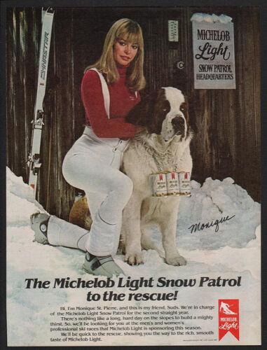 PIERRE VINTAGE AD SAINT BERNARD Dog Playmate MONIQUE ST 1980 MICHELOB LIGHT